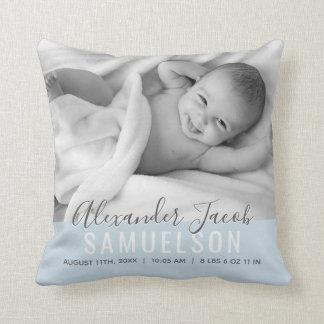 BABY Jungen-blaues Andenken-Namen-Geburts-Datum Kissen
