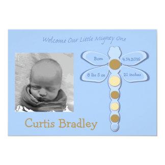 Baby-Jungen-Libellen-Geburts-Mitteilung - 12x18 12,7 X 17,8 Cm Einladungskarte