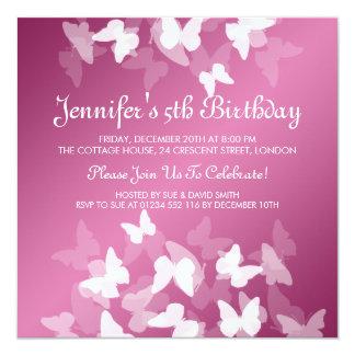 Baby/Kindergeburtstag-weißes Schmetterlings-Rosa Quadratische 13,3 Cm Einladungskarte