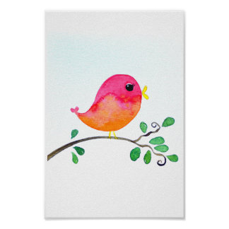Baby-Kinderzimmer wallart_ Watercolor-Rosa-Vogel Poster