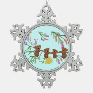 Baby-Koala-Schneeflocke-Verzierung Schneeflocken Zinn-Ornament