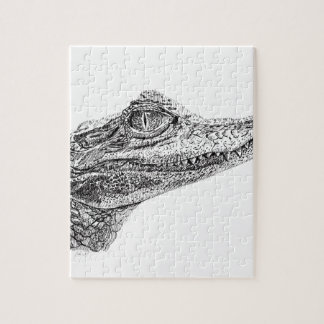 Baby-Krokodil-Tinten-Zeichnen Puzzle