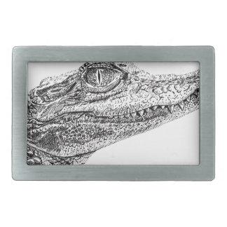 Baby-Krokodil-Tinten-Zeichnen Rechteckige Gürtelschnallen