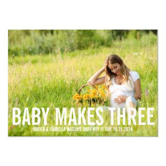 Baby macht drei   Schwangerschafts-Mitteilung 12,7 X 17,8 Cm Einladungskarte
