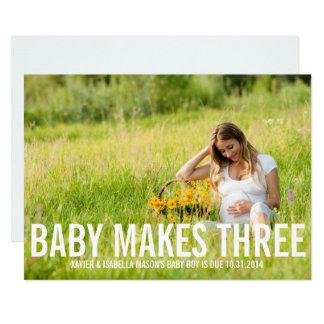 Baby macht drei   Schwangerschafts-Mitteilung Karte