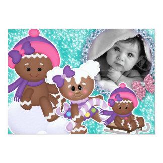 Baby-Mädchen-Geburtstags-Party-Weihnachtslebkuchen 12,7 X 17,8 Cm Einladungskarte