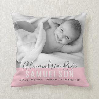 BABY Mädchen-Rosa-Andenken-Namen-Geburts-Datum Kissen