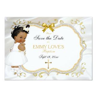 Baby-Mädchen-Taufe retten Datum weißes Goldkreuz 11,4 X 15,9 Cm Einladungskarte
