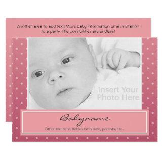Baby-Mitteilungs-ODER Geburtstags-Karte 12,7 X 17,8 Cm Einladungskarte