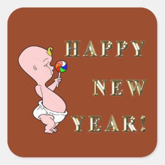 Baby-neues Jahr-Aufkleber Quadrat-Aufkleber