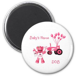 Baby-Rosa-Bär und rosa Traktor-Magnet