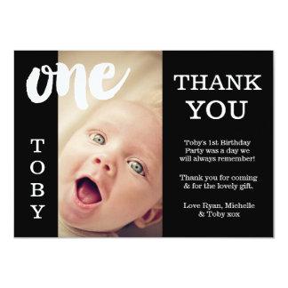 Baby Schwarzer u. Weiß-1. Geburtstag danken Ihnen 11,4 X 15,9 Cm Einladungskarte