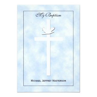 Baby-Taufe-Taufeinladungs-Junge laden ein 12,7 X 17,8 Cm Einladungskarte