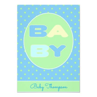 Baby-Text-Duschen-Einladung (blau) 12,7 X 17,8 Cm Einladungskarte