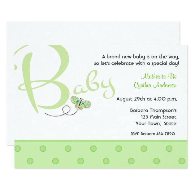baby-text-grün-babyparty-einladung karte | zazzle.at, Einladung