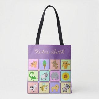 Baby-Tiere für die Baby-Lila Baby-Tasche/die