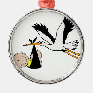 Baby u. Storch - Bündel Freude Silbernes Ornament