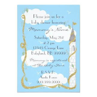 Babyparty-Einladung. Gold/silbernes Schloss Karte
