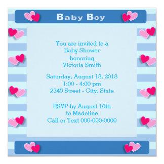 Babyparty ist es ein Jungen-Baby-Herzen Karte