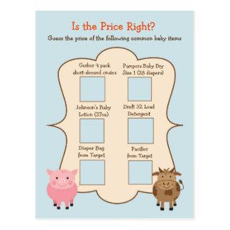 Babyparty-Vermutung die Preis-Spiel-Vieh Postkarte