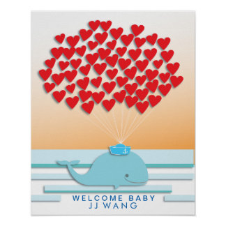 Babypartygastbuch Druck des Wal-| Poster