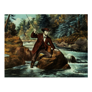 Bachforelle-Fischen - ein aufregender Moment, 1862 Postkarte