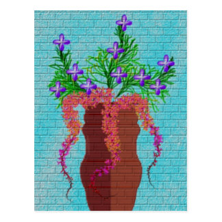 Backsteinmauer-Wandgemälde Postkarte
