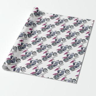 Badass unicorn on motorcycle - Knallhartes Einhorn Geschenkpapier