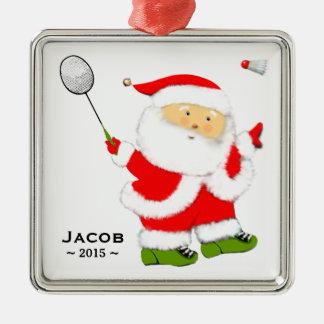 Badminton-Weihnachten sammelbar Quadratisches Silberfarbenes Ornament