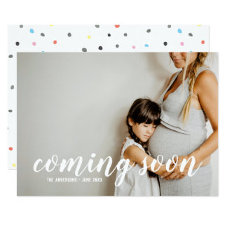 Bald kommen Foto-Schwangerschafts-Mitteilung Karte