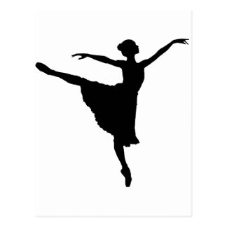 BALLERINA en Pointe (Ballett-Tänzer-Silhouette) Postkarte