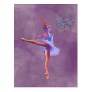 Ballerina in Arabeske-Position in Lila und in Postkarten