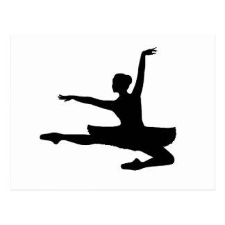 BALLERINA JETÉ (Balletttänzer-Silhouette) ~ Postkarte