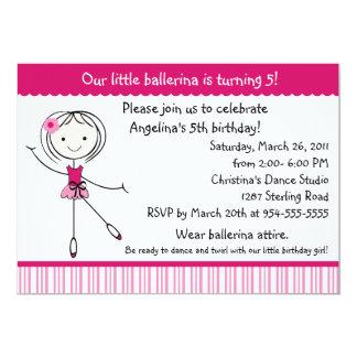 Ballerina-Mädchen-Geburtstags-Einladung 12,7 X 17,8 Cm Einladungskarte