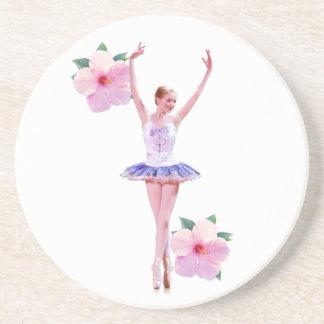 Ballerina mit rosa Hibiskus-Blumen Sandstein Untersetzer