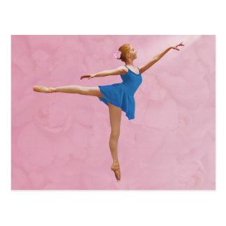 Ballerina mit Rose in der Arabeske-Pose-Postkarte Postkarte