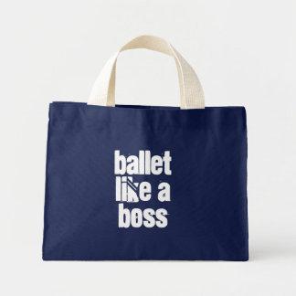 Ballett mögen einen Chef - Marine u. weiße Mini Stoffbeutel