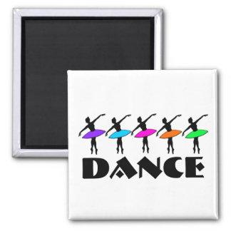 Ballett-Neonballerina-Tanz-Lehrer-Tänzer-Magnet Quadratischer Magnet