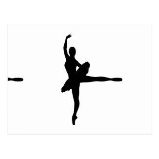BALLETT-TÄNZER Arabeske (Ballerina-Silhouette) v2 Postkarte