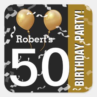 Balloneconfetti-50. Geburtstag SCHWARZES GOLD K96Z Quadrat-Aufkleber
