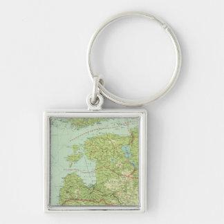 Baltische Staaten u. Ostpreußen Silberfarbener Quadratischer Schlüsselanhänger