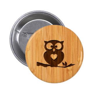 Bambusblick u. gravierte niedliche Eule im Baum Runder Button 5,1 Cm