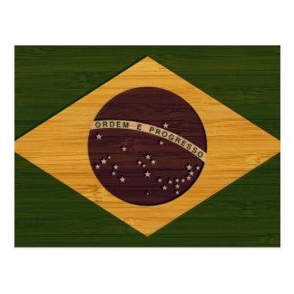 Bambusblick u. gravierte Vintage Brasilien-Flagge Postkarte