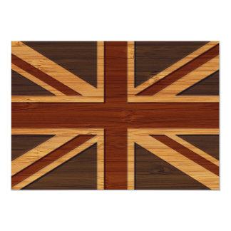 Bambusblick u. gravierter Vintager BRITISCHER 12,7 X 17,8 Cm Einladungskarte