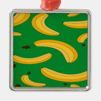 Bananenfruchtmuster Silbernes Ornament