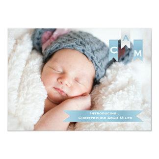 Band-Foto-Geburts-Mitteilung 12,7 X 17,8 Cm Einladungskarte