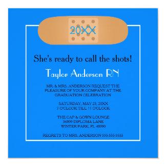 Bandaid Krankenpflege-SchulAbschluss-Einladung Quadratische 13,3 Cm Einladungskarte