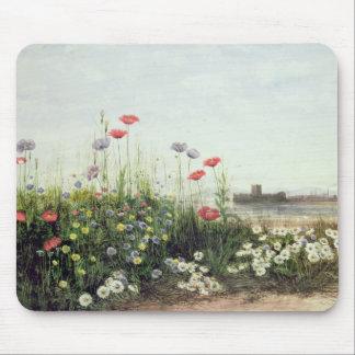 Bank der Sommer-Blumen Mauspad