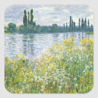 Banken Claude Monets | der Seines, Vetheuil, 1880 Quadratischer Aufkleber