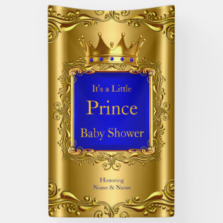 Banner Prince Baby Shower Blue Gold 2